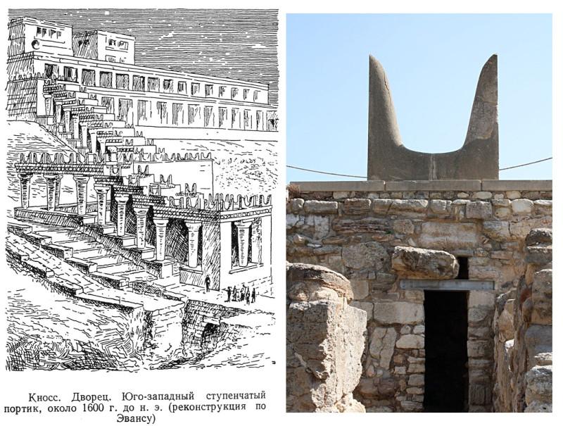 Реконструкция Кносского двореца 17-го в. до Р.Х. по Эвансу. Над колоннами букрании, стилизации бычьих рогов