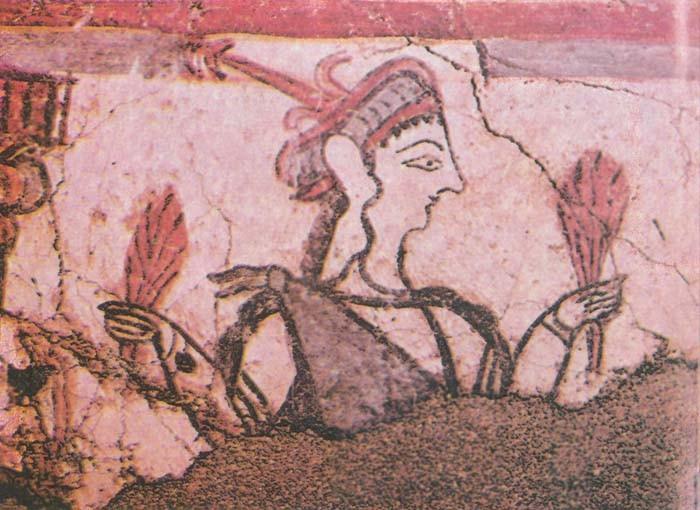 Фреска с изображением женщины с колосьями в руках (Микены, XIII век до н.э.).