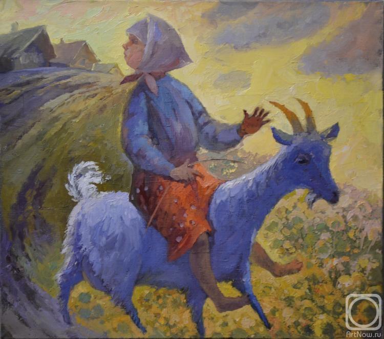 баба на козе