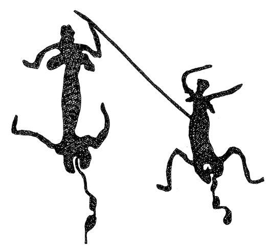 Two women dancing and menstruating.