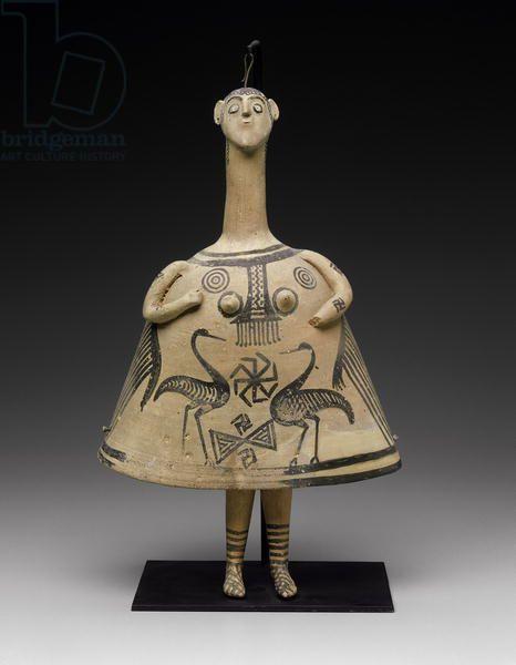 Колоколообразная женская фигурка, из Беоты, поздний геометрический период (720-700 до н. э.) (терракота).