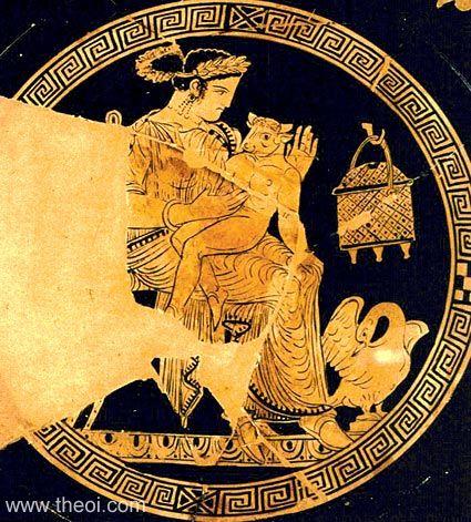 Пасифая с младенцем-Минотавром. Роспись на античной тарелке.
