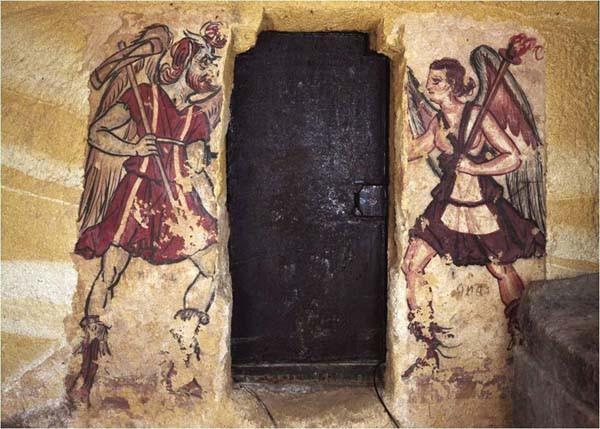 фреска-харун-Charun-слева-и-вант-в-Черветери