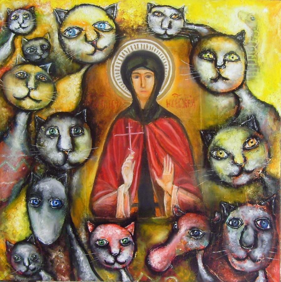 картина Алексея Белякова Когда приходили коты.