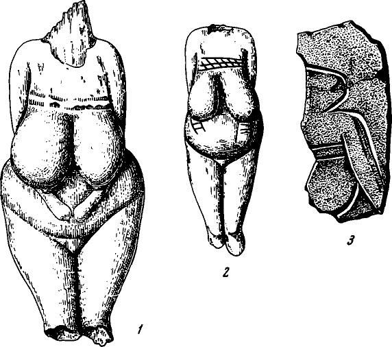 Костяные статуэтки (1, 2) и фрагмент плитки с гравированным изображением человека (3). Костёнки I
