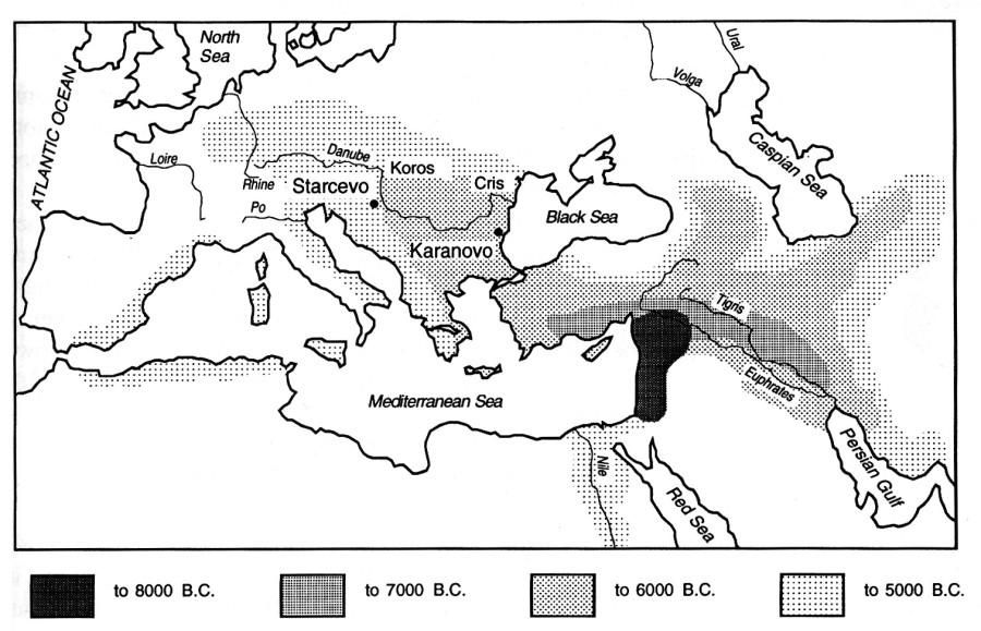 карта распространения неолитических культур в Европе