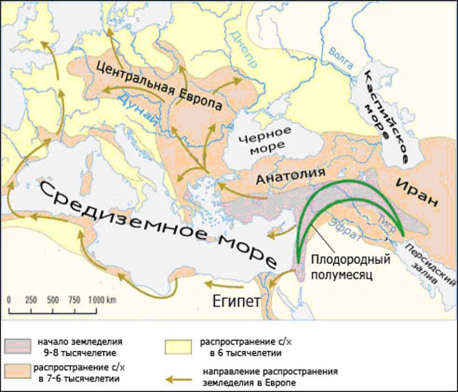 распространение земледельческих культур в Европе