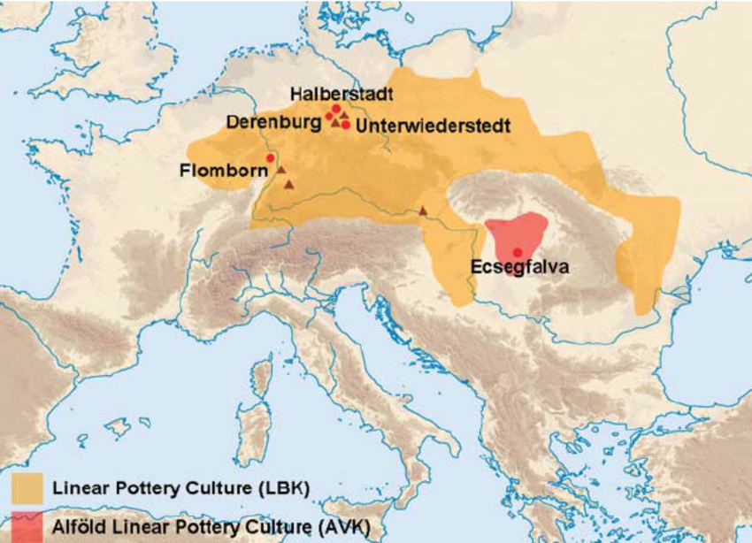 Geographic-range-of-the-first-Central-European-farmers-The-orange-and-red-areas-indicate