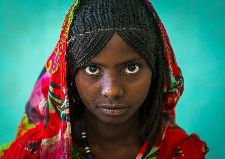 Portrait of an afar tribe girl with braided hair, Afar regio