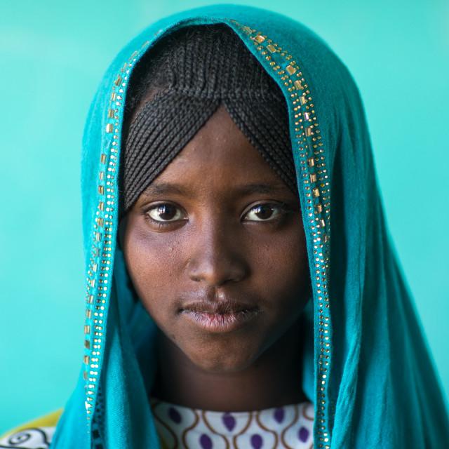 Portrait of an Afar tribe girl with braided hair and a blue veil