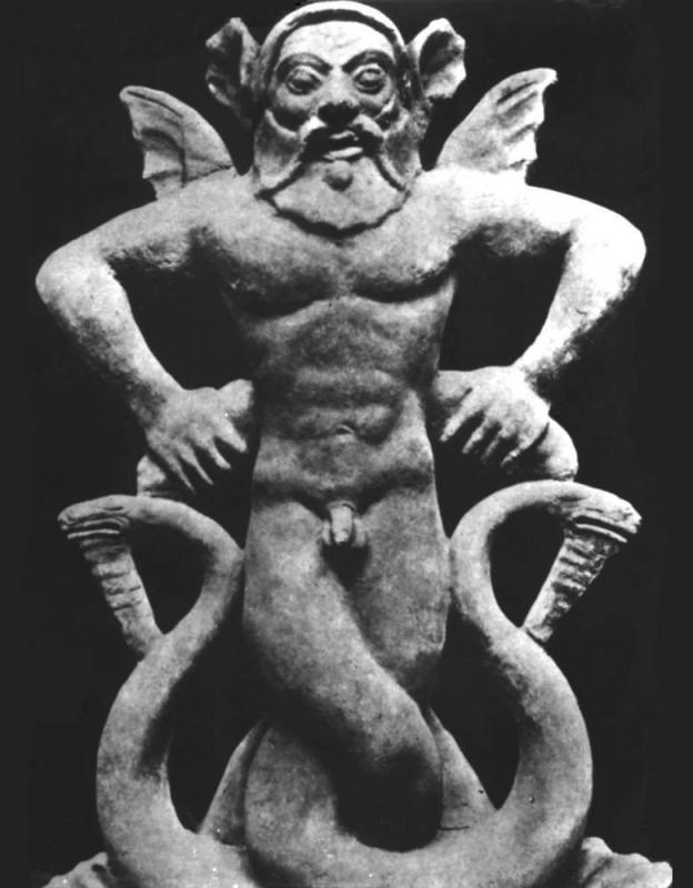 Тифон (змееногий демон). Терракота. Антефикс.