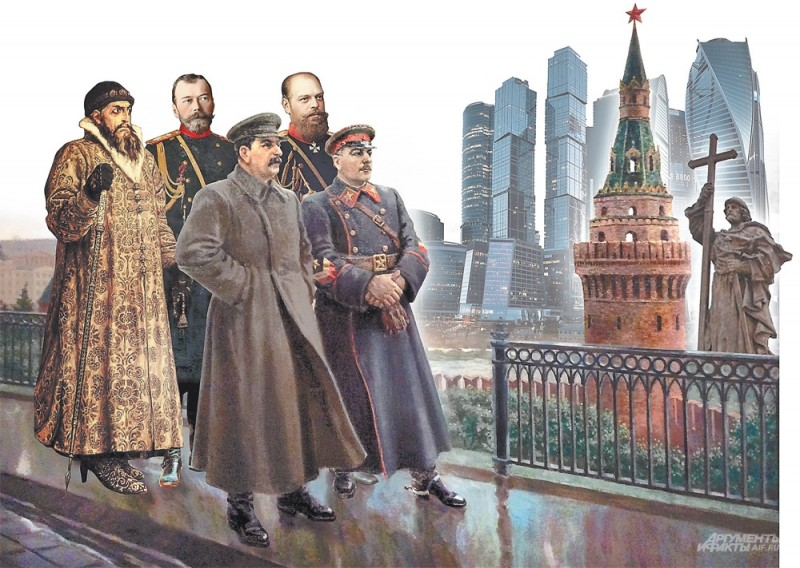 Коллаж Андрея Дорофеева. По мотивам картины А. Герасимова Сталин и Ворошилов в Кремле. Фото АиФ
