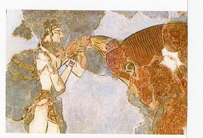 Фреска.(действо с быком) Крит, Кносс.