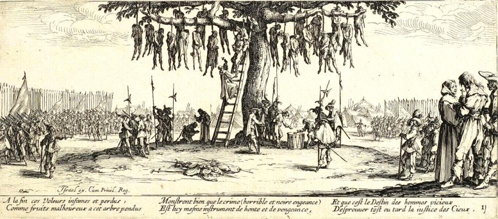 Жак Калло́ (1592-1635) Ужасы войны. Повешенные, 1633 год.