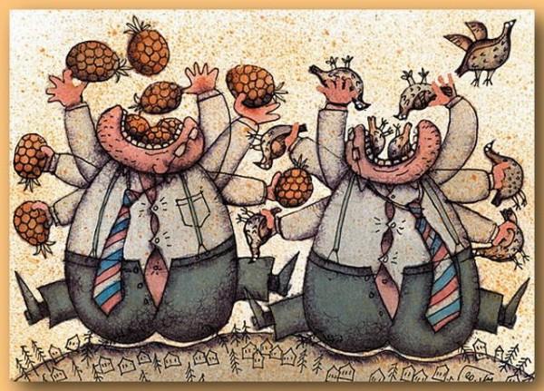 Ешь ананасы, рыбчиков жуй! День твой последний приходит, буржуй!
