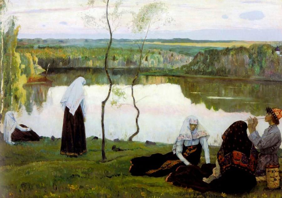 Михаил Нестеров. Монахини и странник у реки.