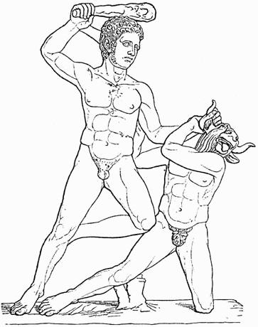 Бой Тесея с Минотавром. Иллюстрация из книги 1888
