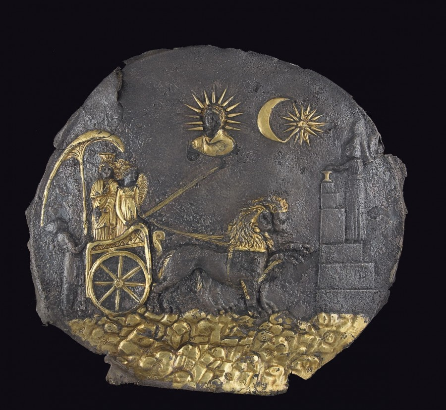 Cybele plaque - gilded silver - 3rd century BC