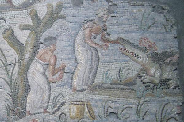 Кормление крокодила. Древнеримская мозайка