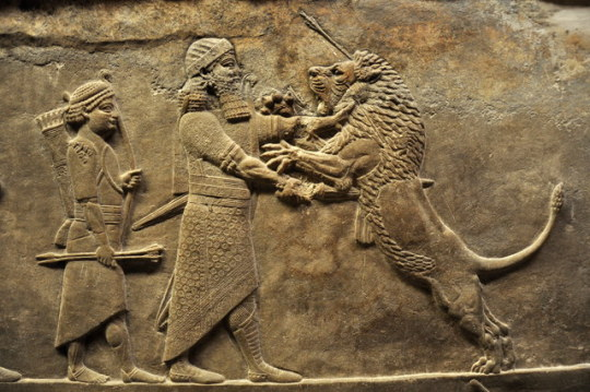 Assyrian relief sculpture from the North Palace at Nineveh, depicting King Ashurbanipal (r. 669-631 or 627 BCE) killing a lion
