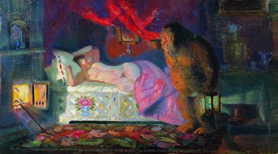 Кустодиев. Купчиха и домовой, 1922
