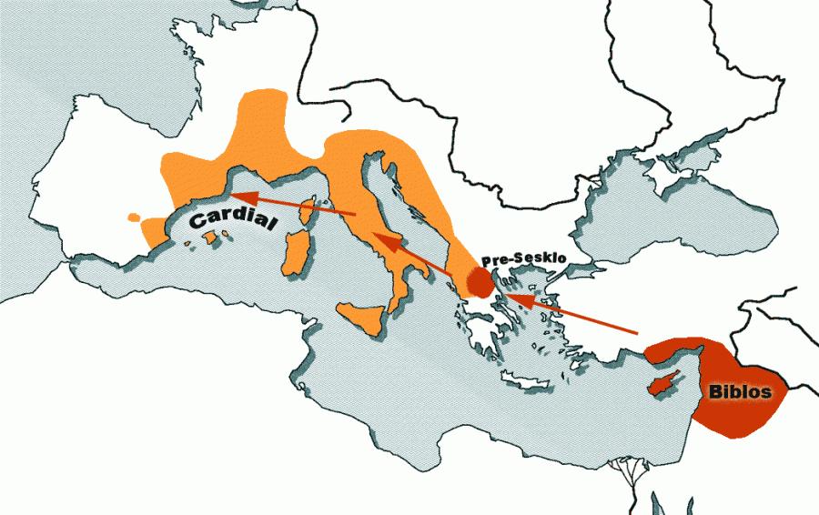 Карта Кардиальной керамики (ранний неолит 6-е и 5-е тысячелетие до н.э)