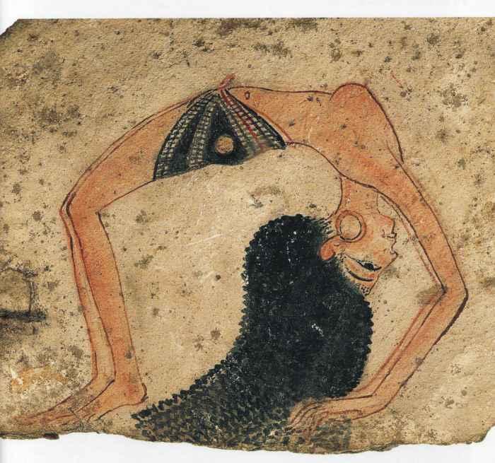 Египетская танцовщица. Древнеегипетская фреска.