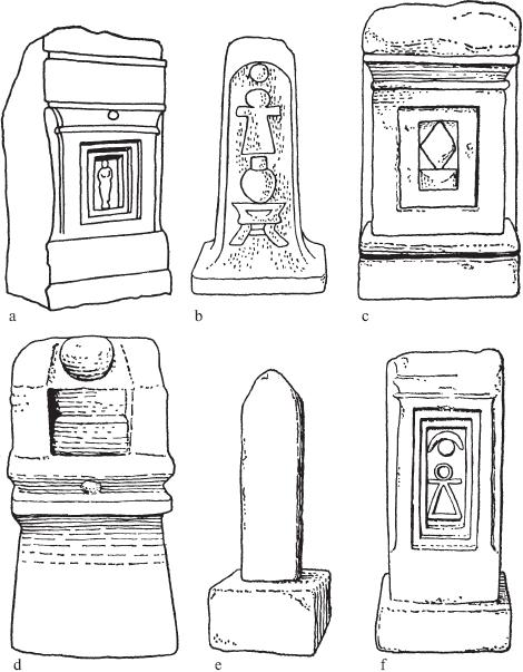 Шесть стел из крупнозернистого известняка. Святилище Тиннит, Карфаген. С VII по IV век до н. э. Разные масштабы