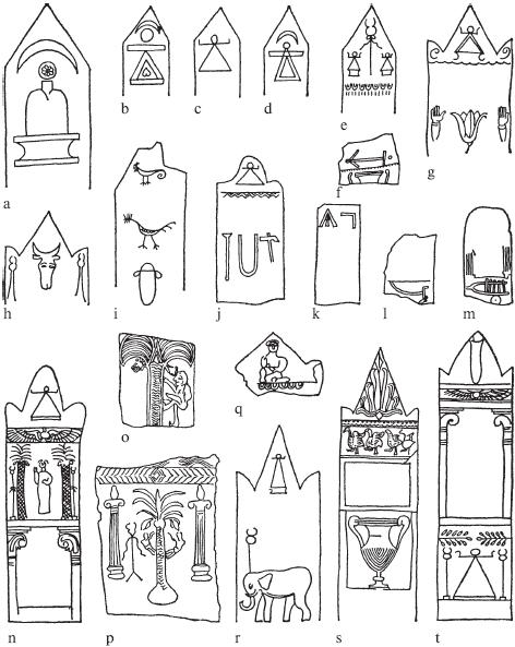 Двадцать стел из твердого, мелкозернистого известняка. Карфаген. С IV по II век до н. э. Разные масштабы