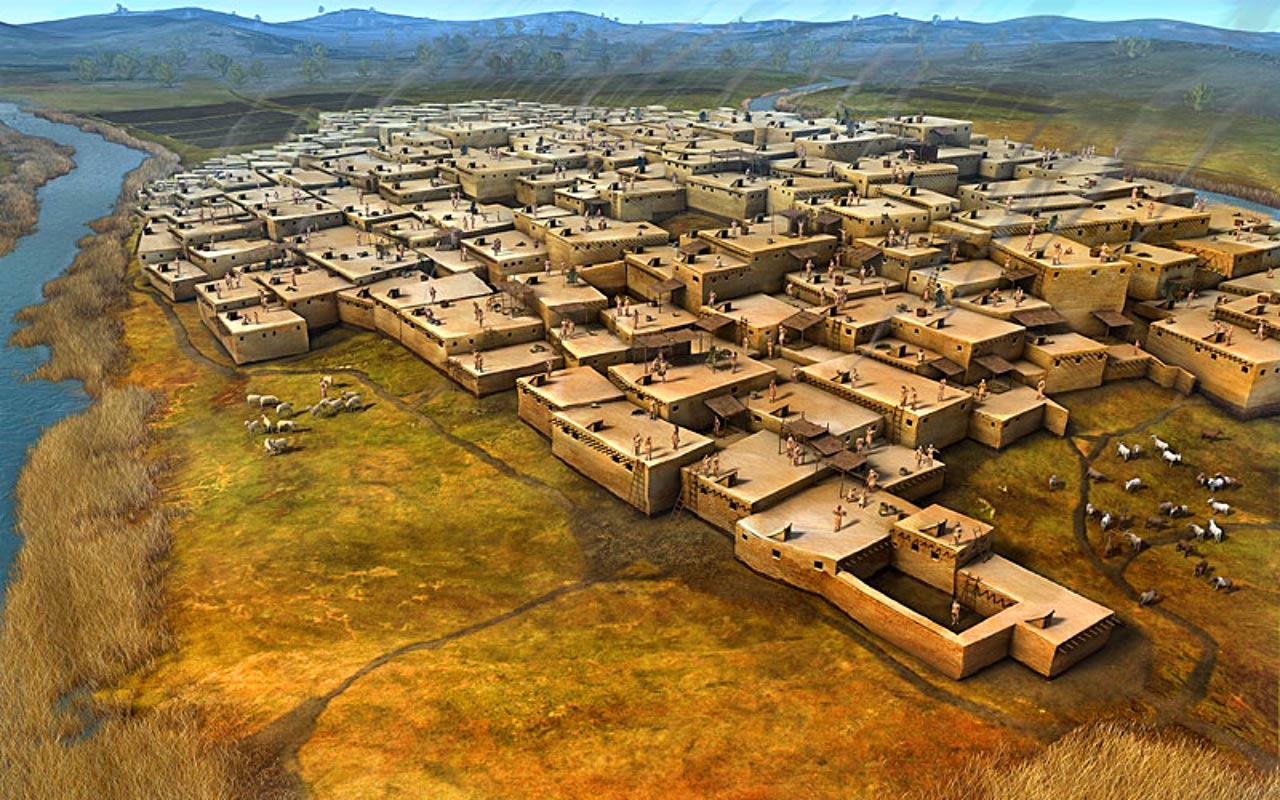 Реконструкция Чатал-Хююка, возможно в 7 тыс. до н.э. это было крупнейшее городское поселение на Земле.