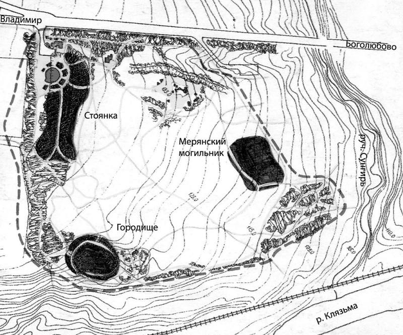 Схема палеолитической стоянки Сунгирь