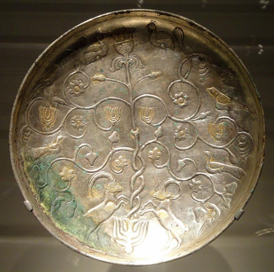 sasanian plate ibex tree of life