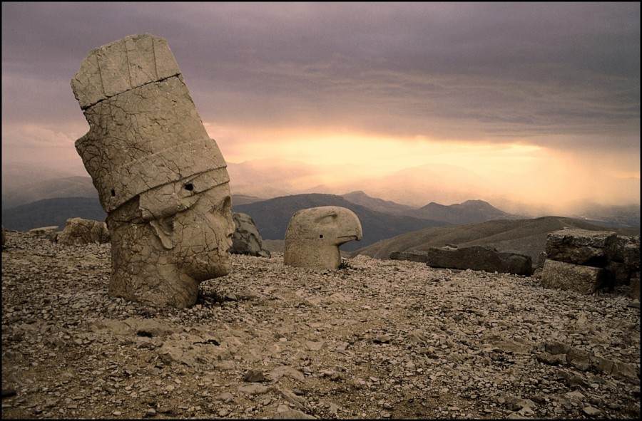 Over 2000 year old heads of statues previously part of a tomb sanctuary. Mount Nemrut, Turkey.