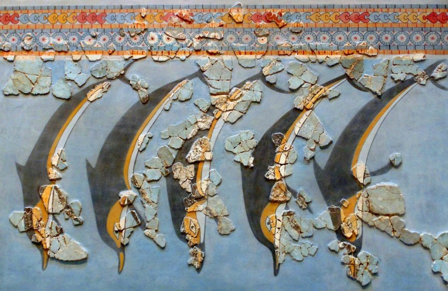 Dolphin frieze from the Mycenaean citadel of Gla (1600–1100 BC ). Now in the Archaeological Museum of Thebes.