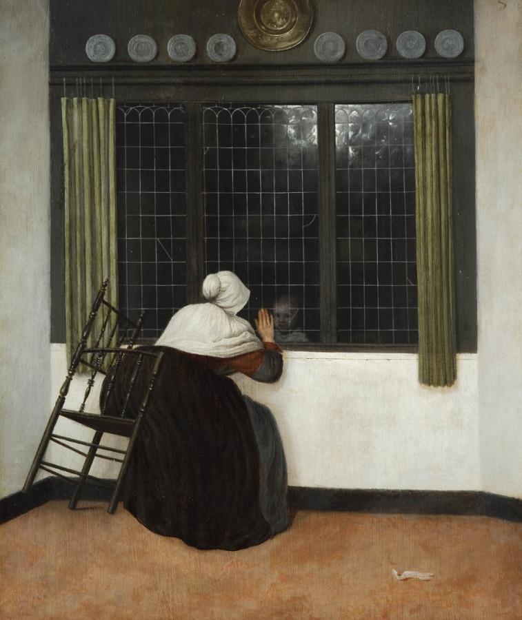 Jacob Vrel - «Женщина у окна машет маленькой девочке», 1650