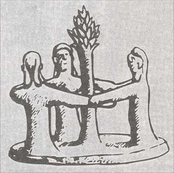 терракотовая композиция с танцем вокруг дерева из Кипра, датируемая 1000 до н.э.