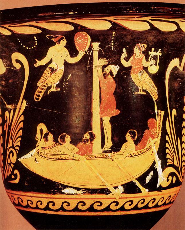 Встреча Одиссея с сиренами. Греческая вазопись.