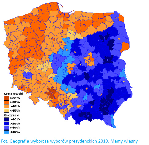 карта голосов на польских выборах