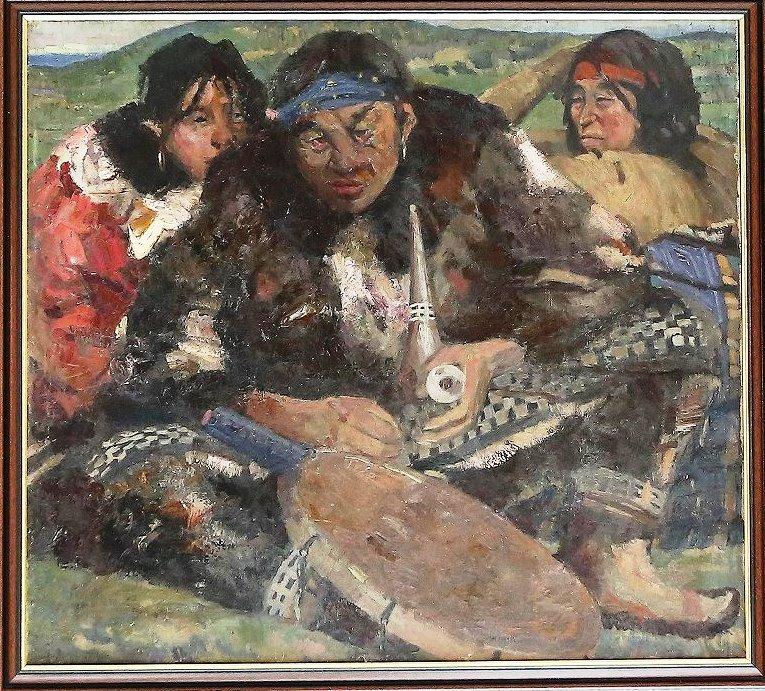 Васильев Алексей Александрович. Шаман с жёнами. 1939 г.