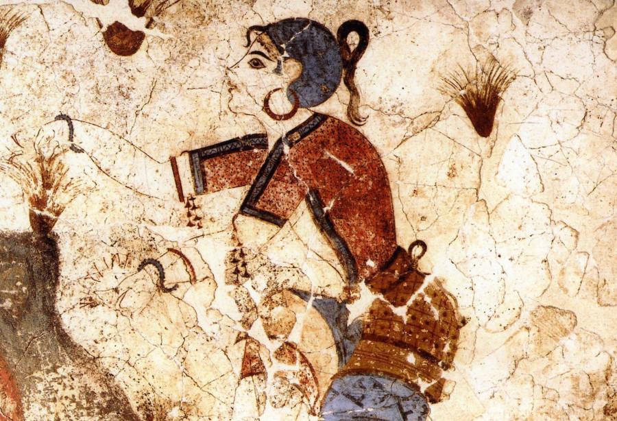 Fresco of Minoan saffron gatherers