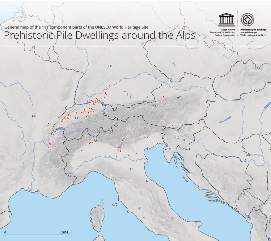 карта свайных поселений вокруг Альп