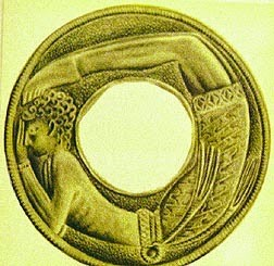brighter picture of the acrobat on a Minoan golden roundel
