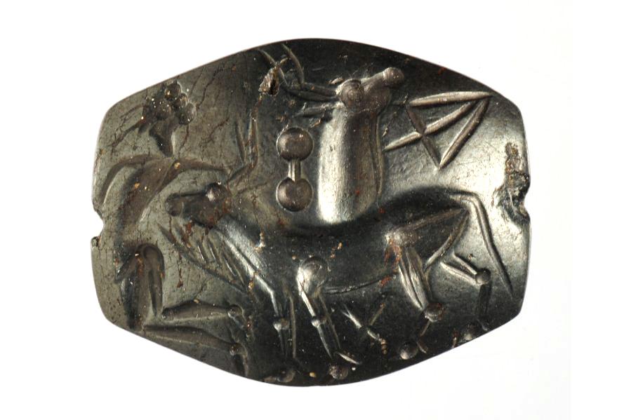 Печать из Кносса с изображением «неудачного» танца с быком. Бык убивает человека. Кносс. 15-14 вв. до Р.Х. Британский музей 1873,1022.3
