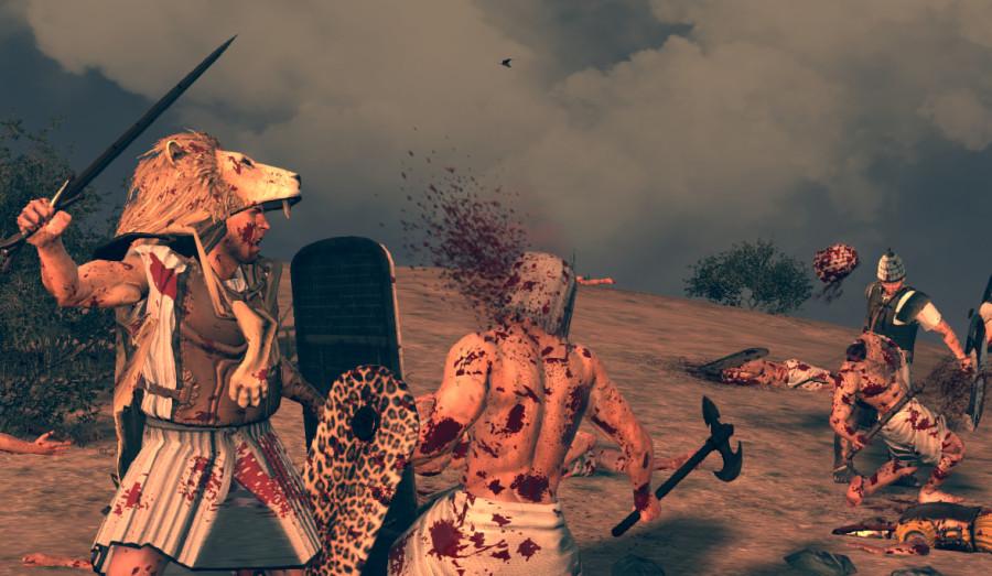 A Mycenaean Wanax killing an egyptian soldier, from TW age of bronze mod screenshot