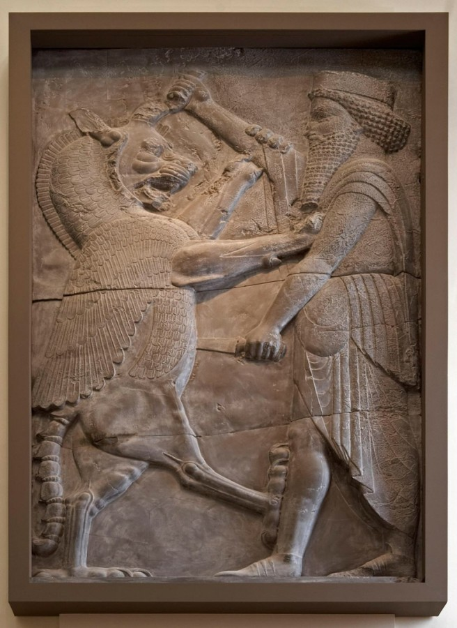 Plaster cast of a relief of a royal hero fighting a winged beast. From Persepolis, c. 490–470 BC. British Museum.