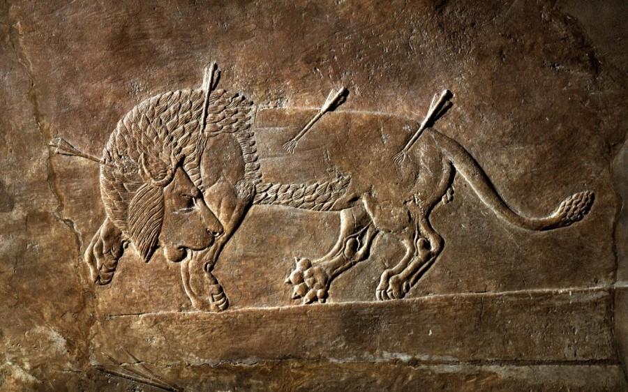 рельеф льва, Месопотамия
