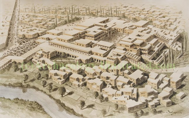 Knossos reconstruction with surrounding town