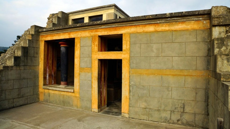 Reconstructed side of the Little Palace, Knossos