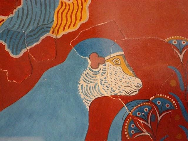 detail from the monkey fresco, minoan