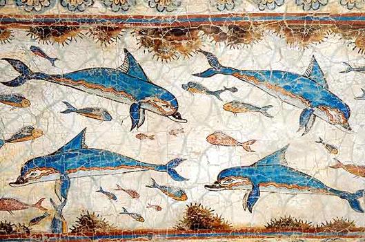 detail of the dolphin fresco, Knossos